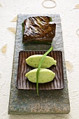 Salmon wrapped in banana leaves with wild garlic-potato puree