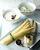 White asparagus with two sauces and morels