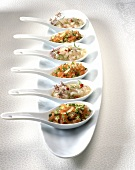 Amuse bouche on china spoons