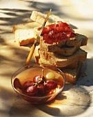 Bread with cherry jam
