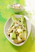 Steamed leeks with egg-mustard dressing