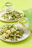 Couscous salad with courgette, peas and feta