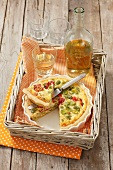 Quiche with lima beans and roasted peppers, white wine