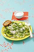 Zucchini-bean salad with Mozzarella