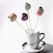 Cake pops in a tea cup