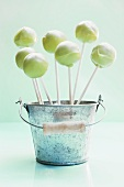 Light green cake pops in a small bucket
