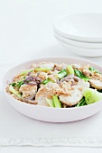 Pan-fried chicken with bok choy and rice