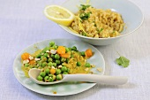 A pea and curry medley with lemon bulgur