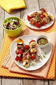 Grilled turkey and vegetable kebabs
