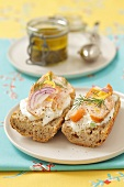 Wholemeal baguette with cream cheese and smoked salmon