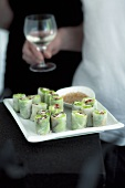 Rice paper rolls with a sesame seed dip (Vietnam)