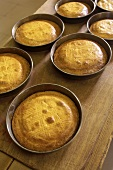 Gateau basque in cake tins