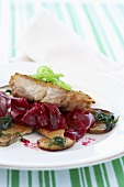 Chicken escalope on porcini mushrooms and beetroot salad
