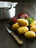 New potatoes, onions and oregano