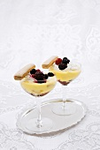 Mini trifles with blancmange and berries