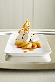 Nougat parfait with caramelized apple slices