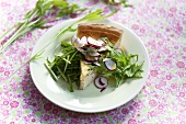 Leek quiche with rocket and radishes