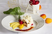 Tiramisu with white chocolate flakes and a fruit garnish