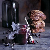 Black currant marmalade and whole grain bread