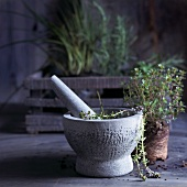 Fresh thyme in a mortar in front of a planter box with herbs