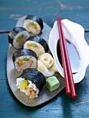 Maki sushi with prawns