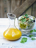 Carrot vinaigrette and coconut pesto