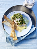 Red snapper with lemon grass crust and macadamia nut sauce