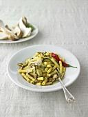 Sedanini e porcini (pasta with fresh porcini mushrooms, Italy)