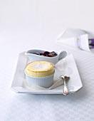 Soufflé di ricotta (ricotta souffle with grape compote)