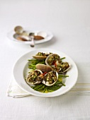 Fasolari farciti e asparagi (mussels with wild asparagus)