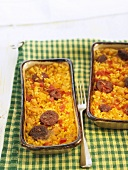 Arroz al horno (oven-baked rice, Spain) with chorizo