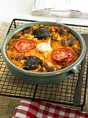 Arroz al horno de xativa (oven-baked rice, Spain) with pork