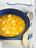 Arroz caldoso (rice stew, Spain) with squid and cauliflower
