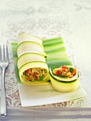 Courgette rolls filled with quinoa and vegetables
