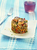 Vegetable timbale with lentils and goose liver