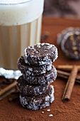 Chocolate biscuits with sugar