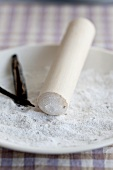 Vanilla sugar with a pestle