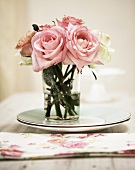 English Roses in a glass vase