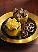 Rum pretzels, ginger sticks and ginger biscuits