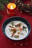 Spicy Polish fish soup for Christmas dinner