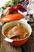 Pork knuckle in a soup pot (Beskiden, Poland)