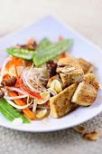 Stir-fried tofu and vegetables with glass noodles