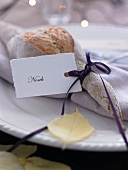 A place setting with a name card