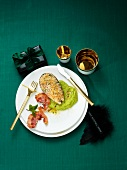 Salmon fillets au gratin with mushy peas and bacon