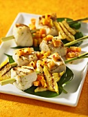 Halibut and star fruit kebabs