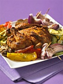 Grilled chicken with a side of vegetables