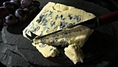 Cutting blue cheese