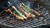 Belly pork wrapped around skewers with rosemary on barbecue