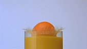 An orange falling into a glass of orange juice