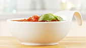 Tomato sauce garnished with basil